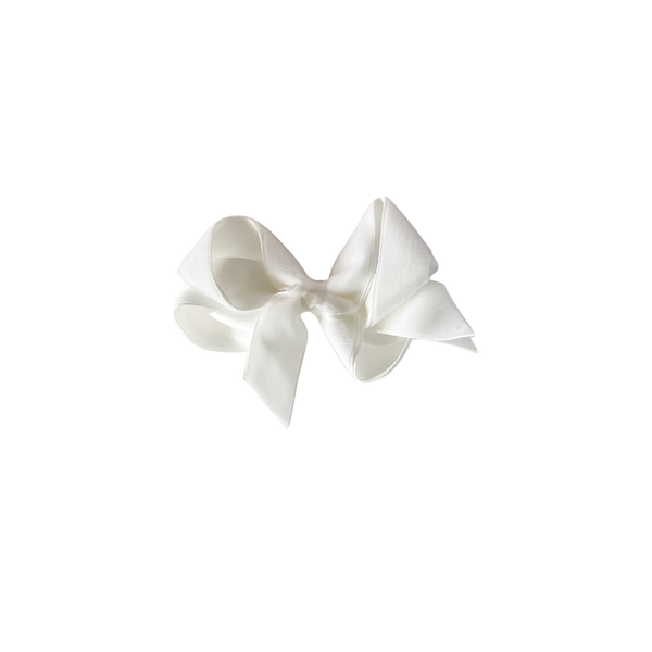Small White Velvet Bow