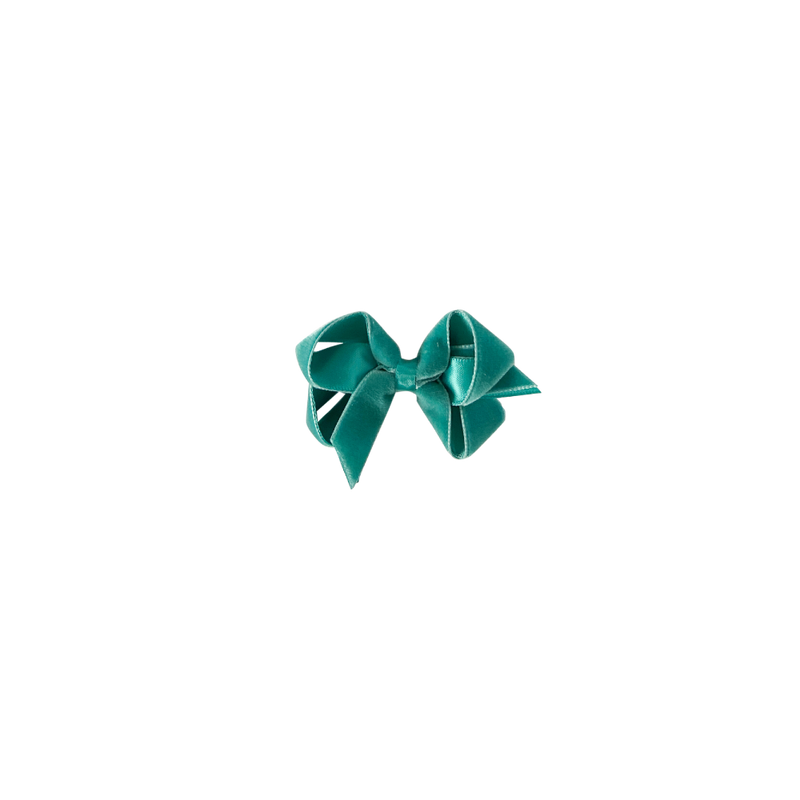 Toddler Teal Velvet Bow