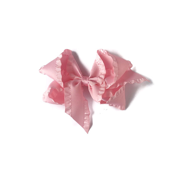 Light Pink Ruffle Satin Bow