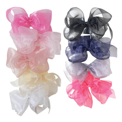 Wide Nylon Headband with Organdy Bow