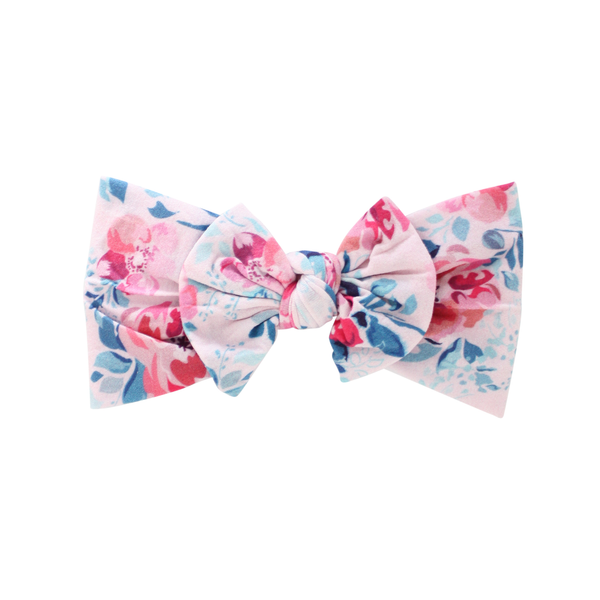 Tropical Flower Wide Nylon Print Bow Headband