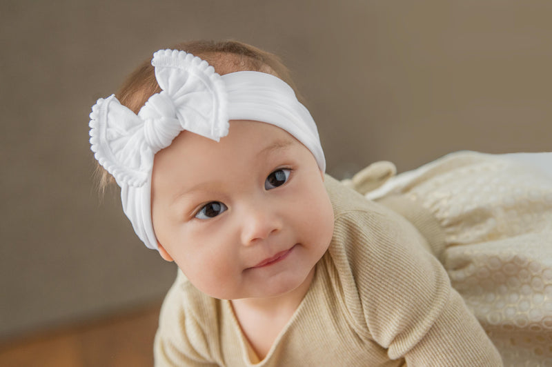 Wide Nylon Baby Headband with Pom Fringe Bow