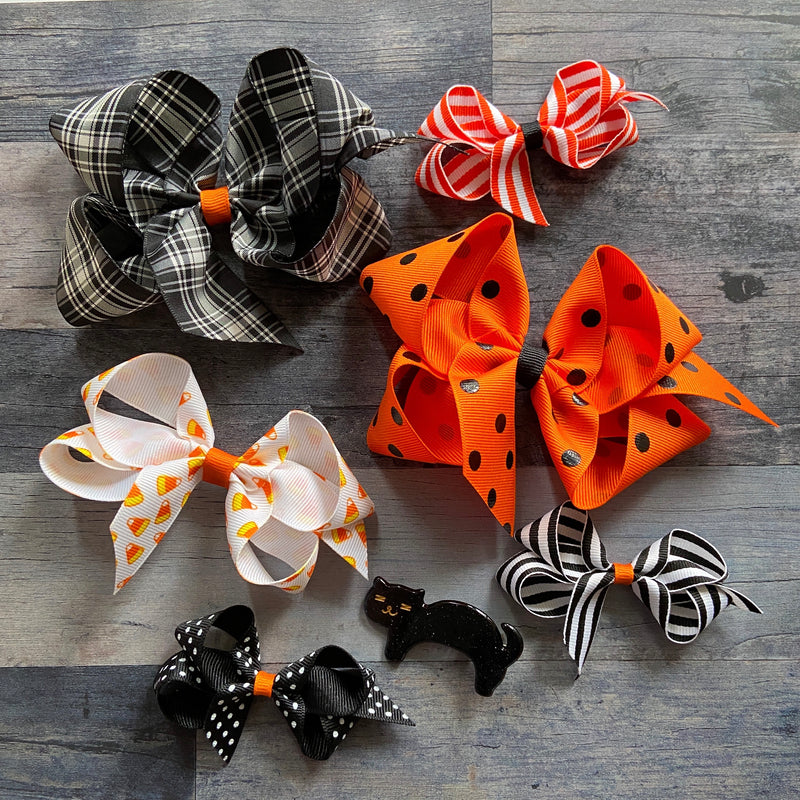 Big Orange & Black Dot Bow