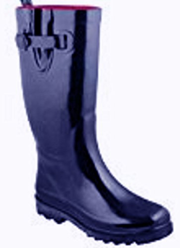 Shoes 18 Womens Classic Rain Boots with Buckle Prints & Solids (11, Navy 5000)