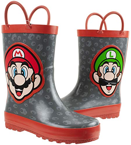 Super Mario Brothers Mario & Luigi Rain Boot for Kids, Nintendo, 100% Rubber, Waterproof, Grey Red, Little Kid Size 11/12