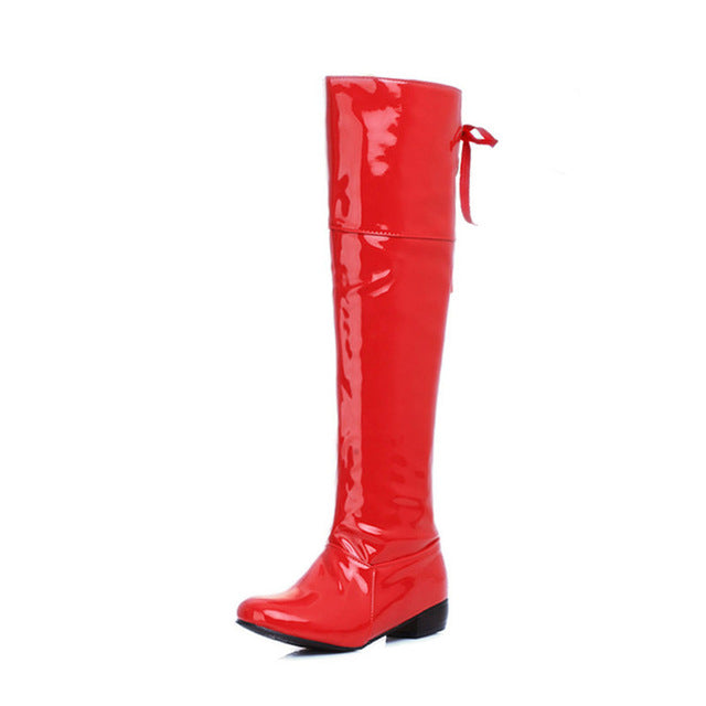ZJVI Fashion patent PU thigh high rain boots spring autumn Women knee high
