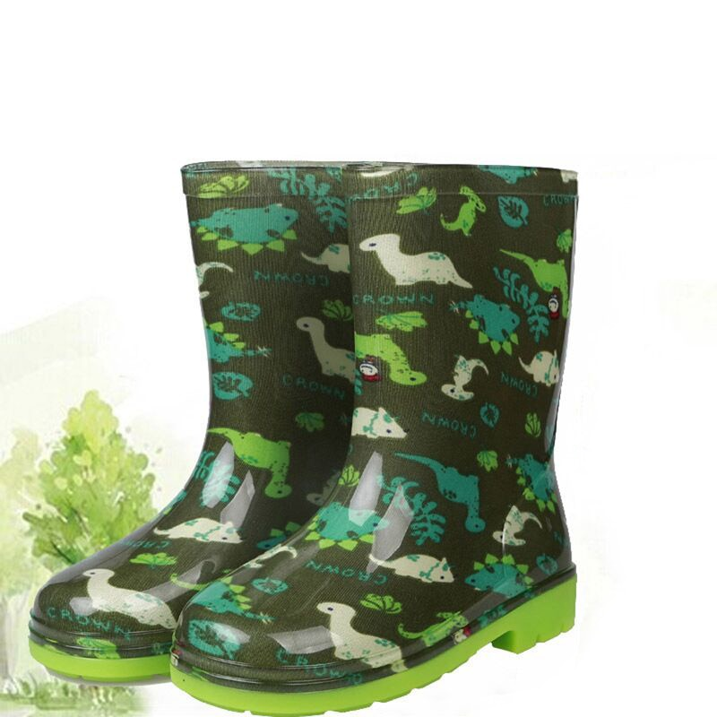2019 New Waterproof Children Rainboots Printed Rubber Boys Girls Non-Slip Water Shoes