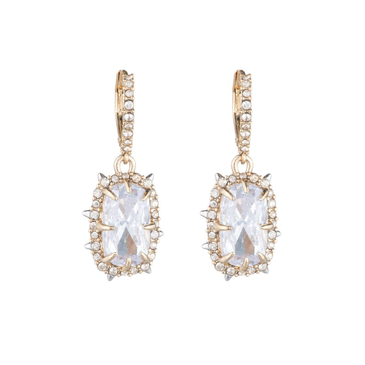 Crystal Framed Cushion Leverback Earring | Gold