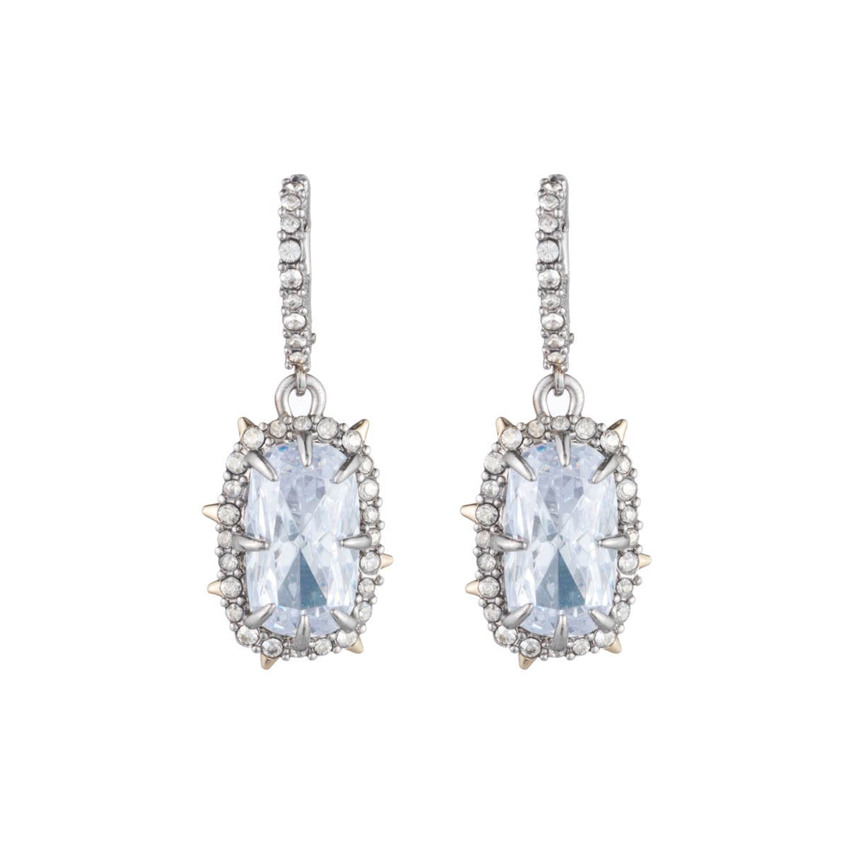 Crystal Framed Cushion Leverback Earring | Silver
