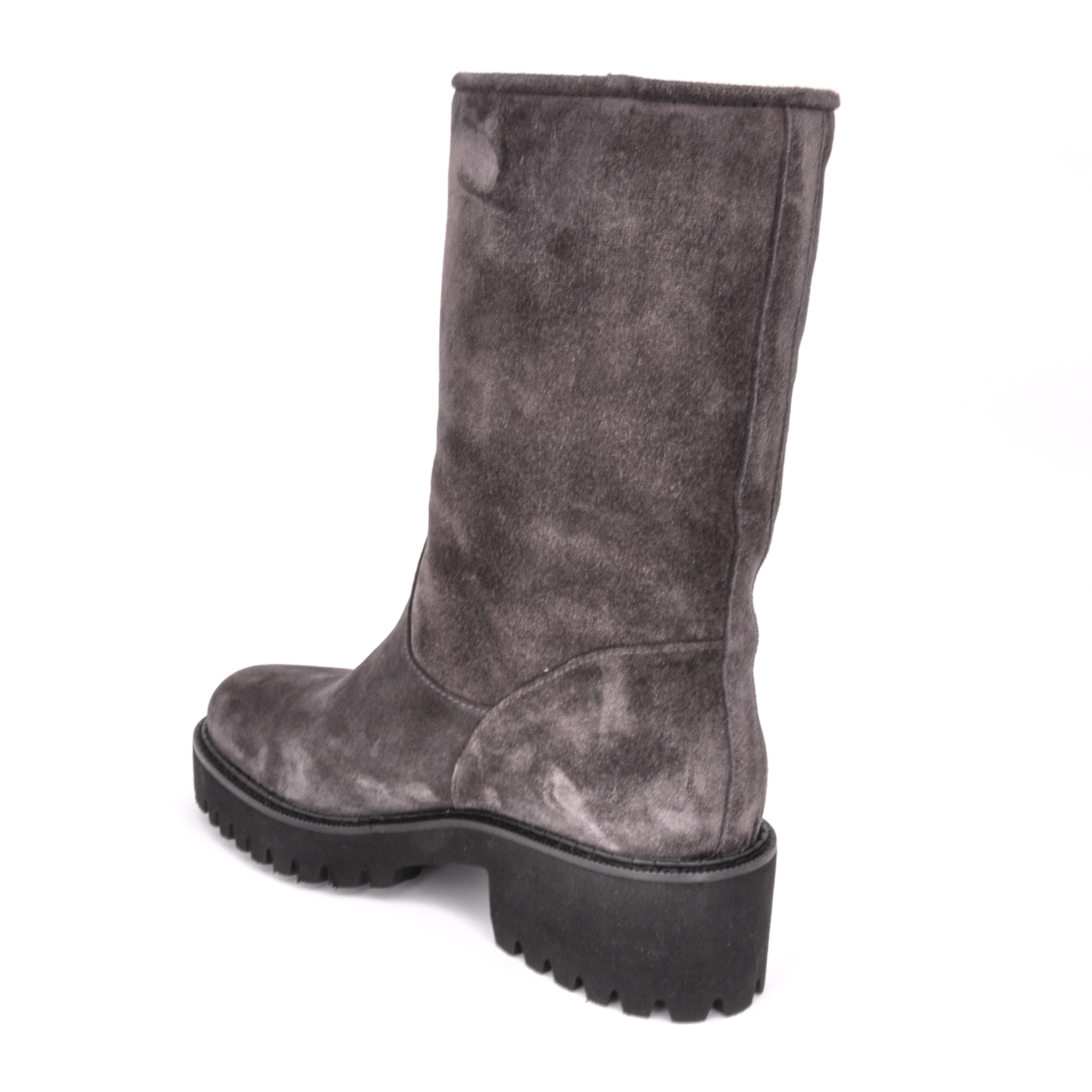 Tiny Shearling Mid Calf Boot | Grey Suede