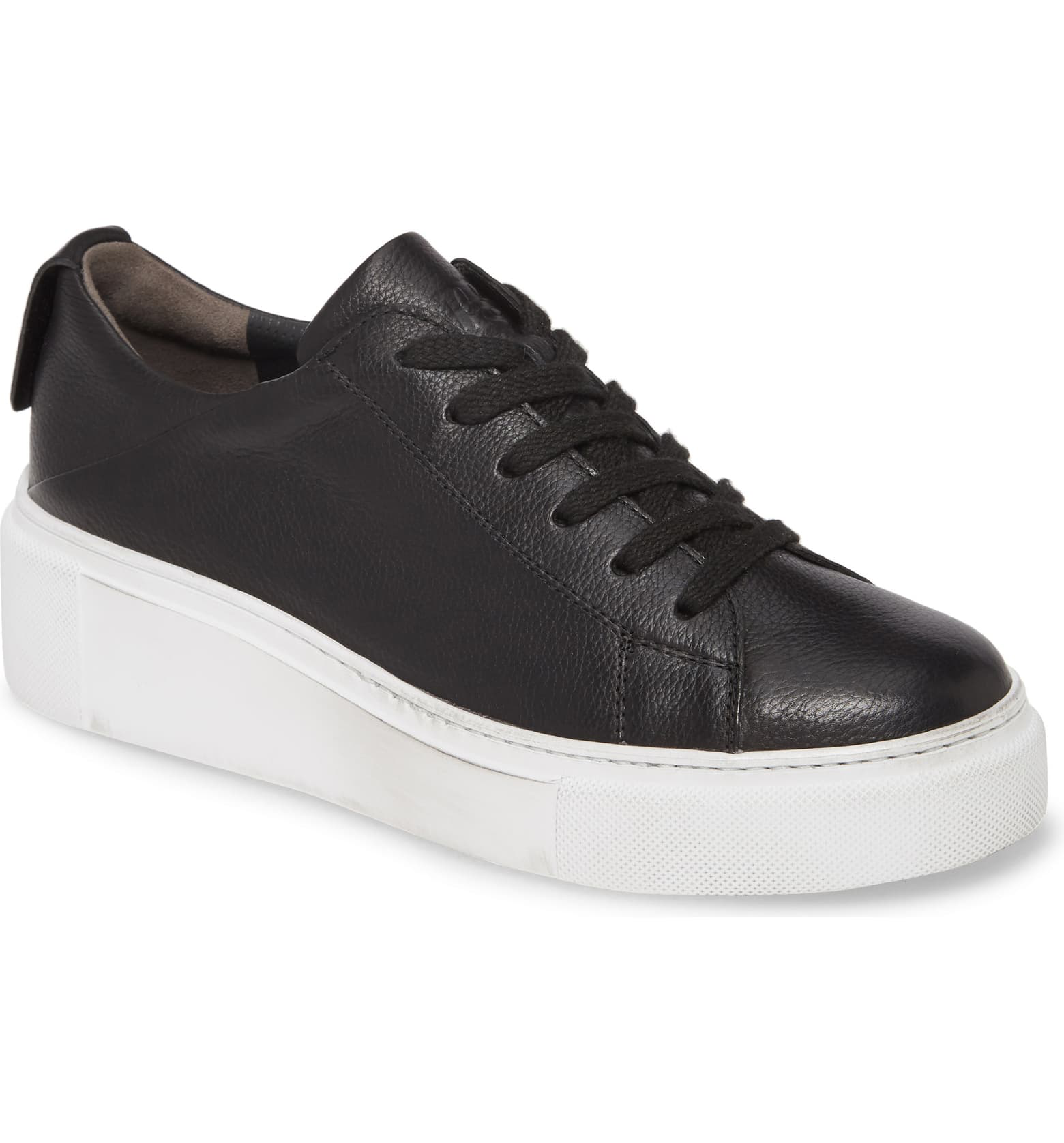 Debbie Wedge Sneaker | Black Leather