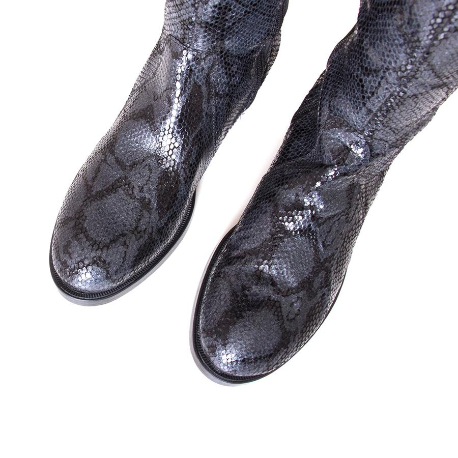 Bunt Boot | Black Snake Print Leather