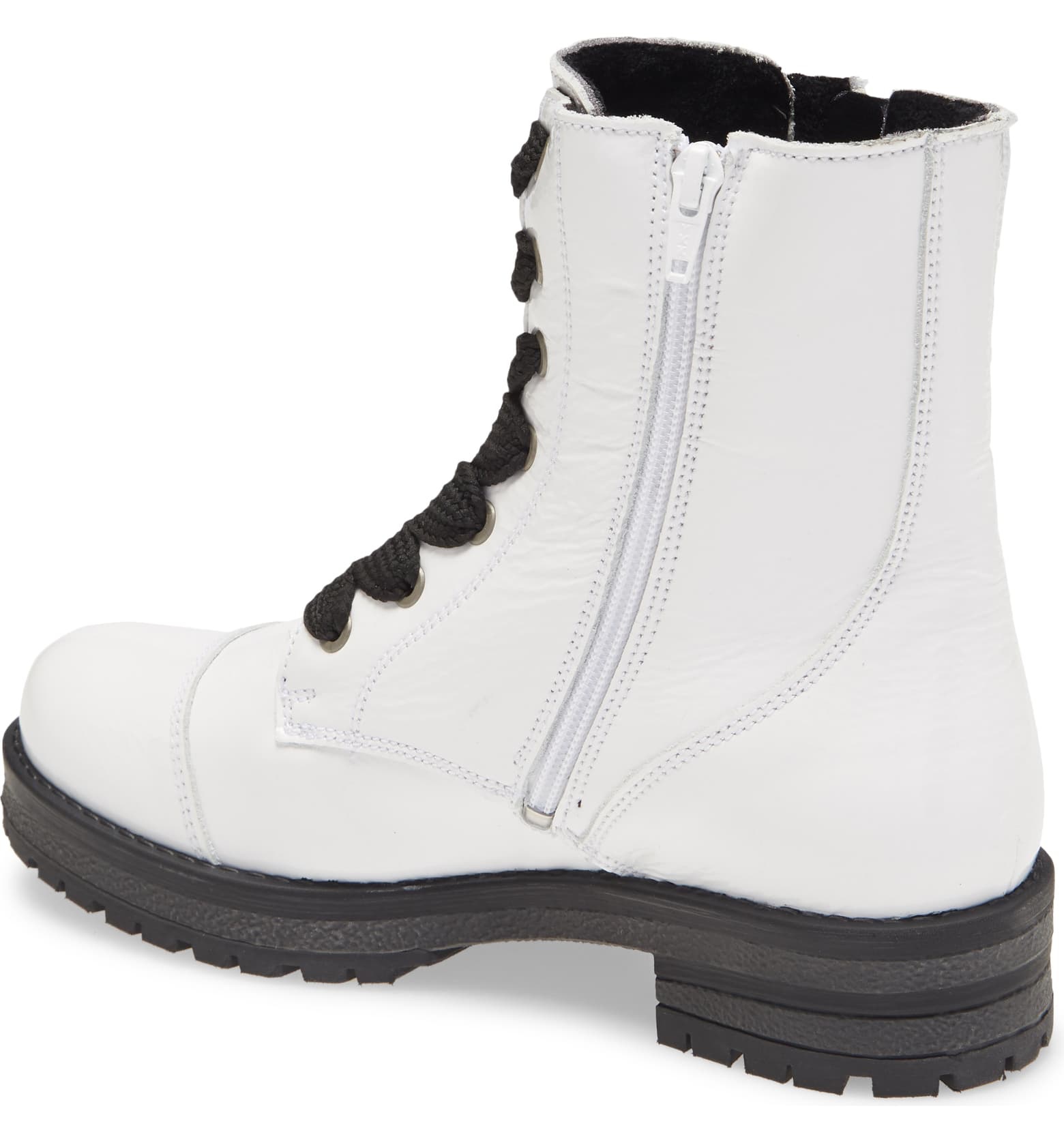 Paulie Boot | White Patent Leather