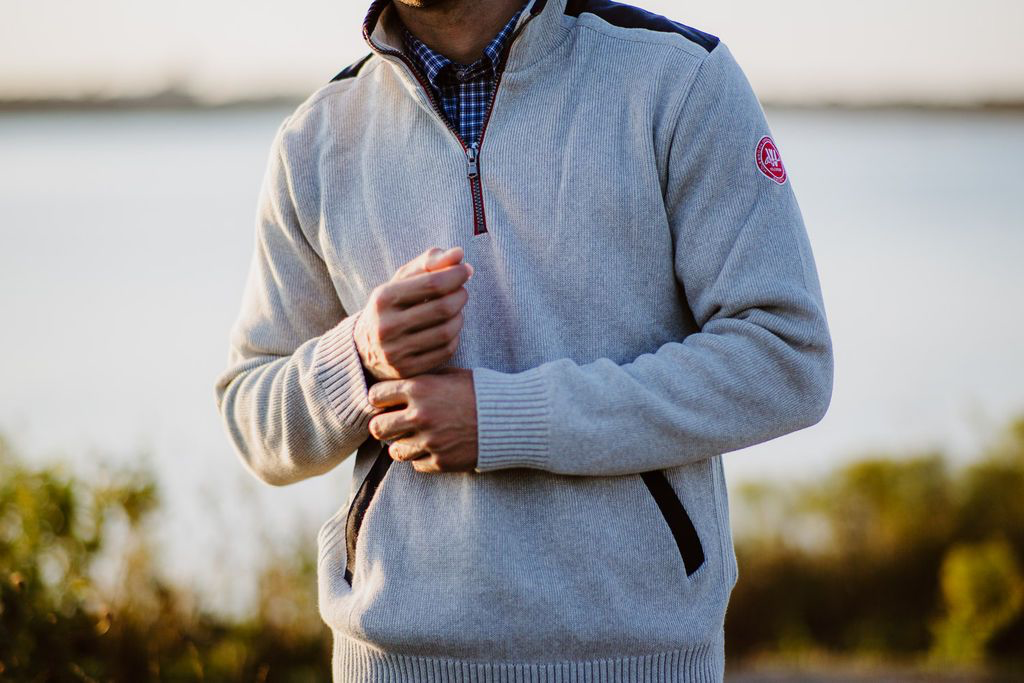 Gregor 1/4 Zip WP | Light Grey Cotton