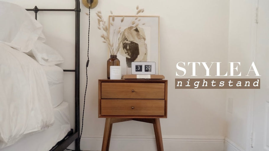 Showing you eight different ways to style a nightstand using some table top decorating tips that work for me