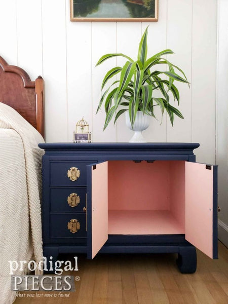 Home Decorating Ideas Furniture Open Vintage Chest Nightstand with Color Pop Interior by Larissa of Prodigal Pie…