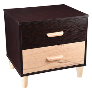 Yescom 2 Drawers Wood Nightstand Bedside Table White/Walnut