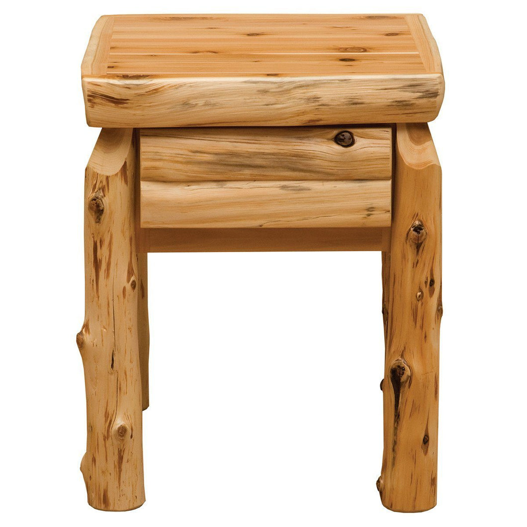 Rustic Traditional Cedar Half-Log Drawer Nightstand