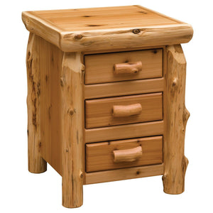 Utility Traditional Cedar Three Drawer Nightstand