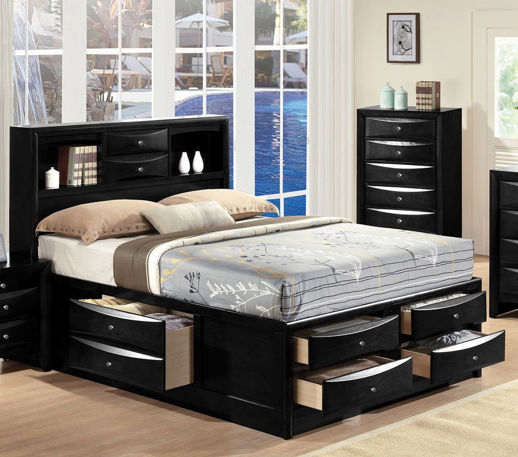 Acme 21606EK Ireland Black King Storage Bed with Bookcase Drawers