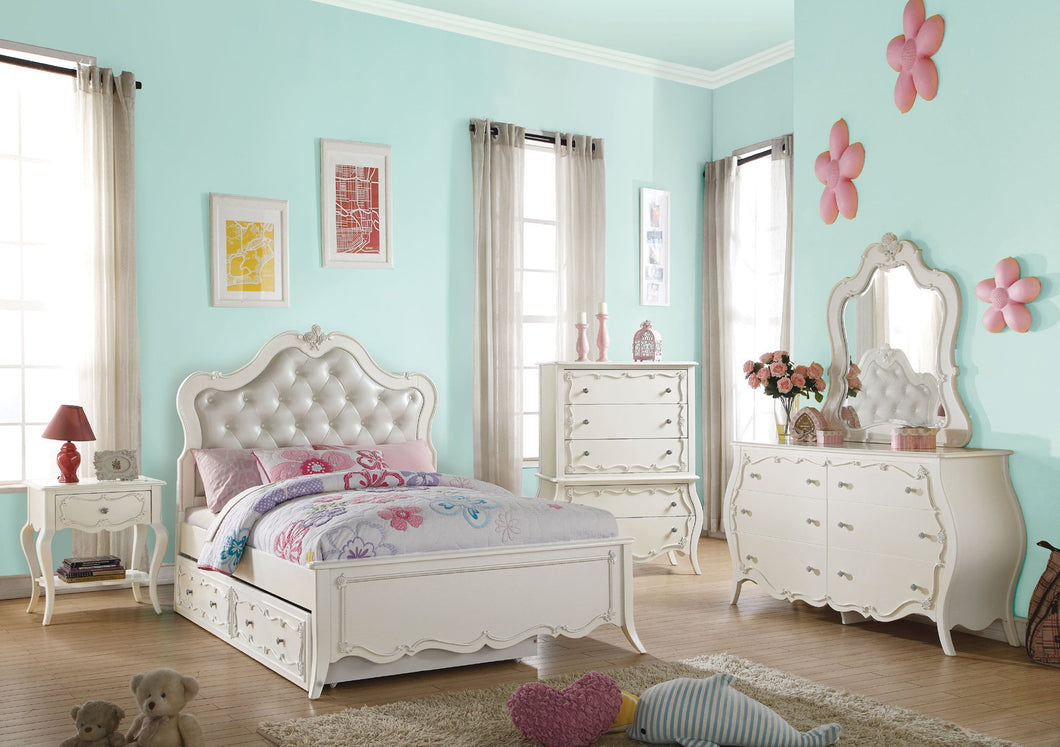 Acme Edalene Pearl White Girl Full Trundle Bedroom Set