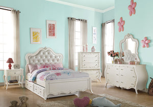 Acme Edalene Pearl White Girl Twin Trundle Bedroom Set