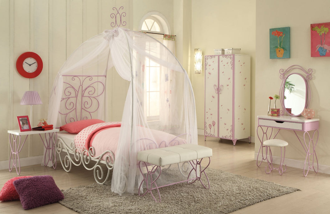 Acme 30530T Priya 6 Pieces Silver matel Girl Twin Canopy Bedroom Set
