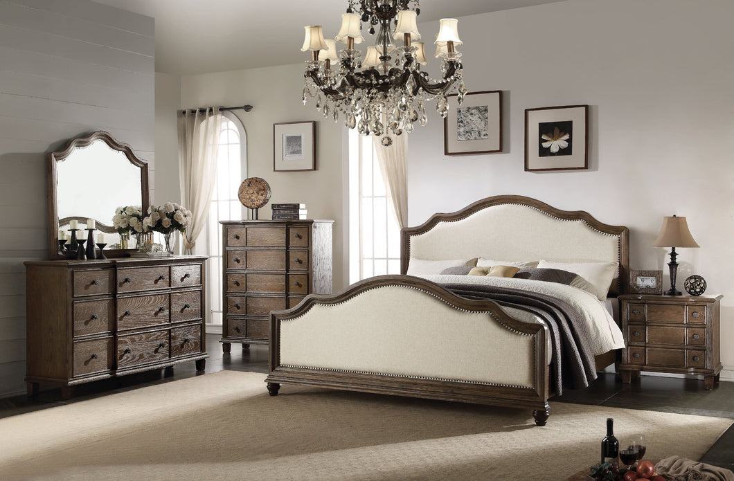 Acme 26107EK Baudouin 4 Pieces Weather Oak King Bedroom Set