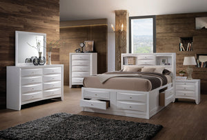 Acme 21700Q Ireland 4 Pieces White Bookcase Queen Storage Bedroom Set