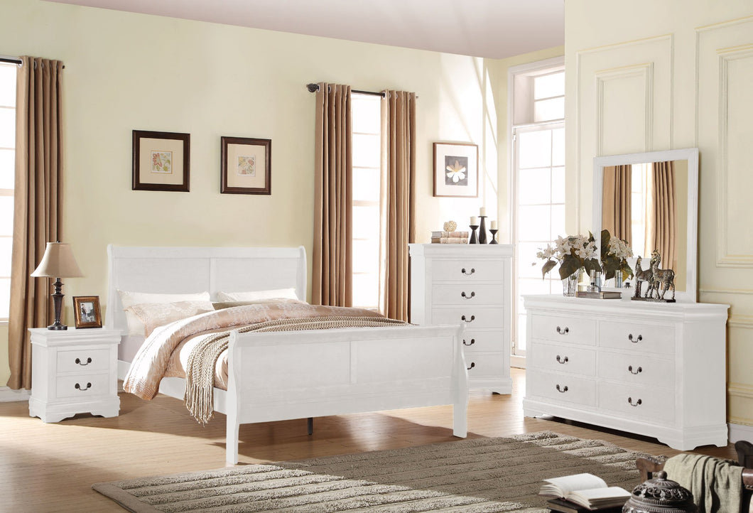 Acme 23840F Louis Philippe 4 Pieces White Full Sleigh Bedroom Set