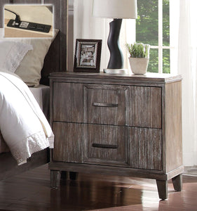 Acme Bayonnee Cherry Oak Drawer Night Stand Usb Power Dock