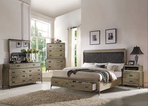 Acme Athouman Weather Oak King Storage Bedroom Set