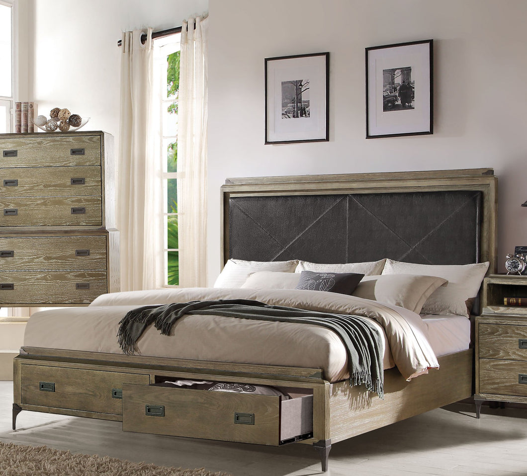 Acme 23917EK Athouman Weather Oak King Storage Bed