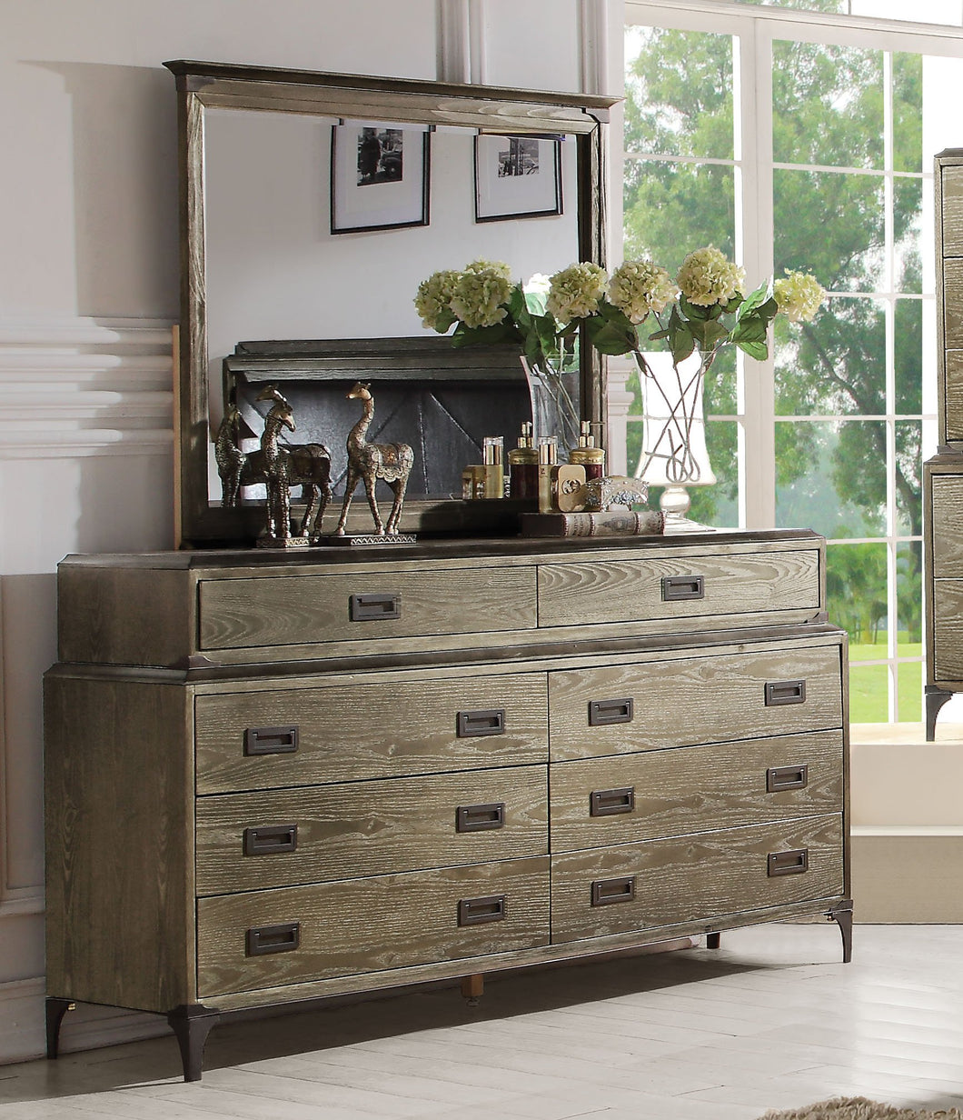 Acme 23925 Athouman Weather Oak 8 Drawer Dresser and Mirror