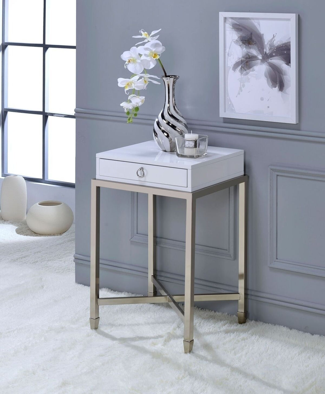 Acme Belinut White Brushed Nickel End Table