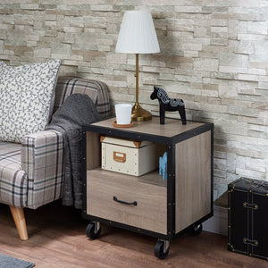 Acme Bemis Rustic Natural Black Drawer Nightstand