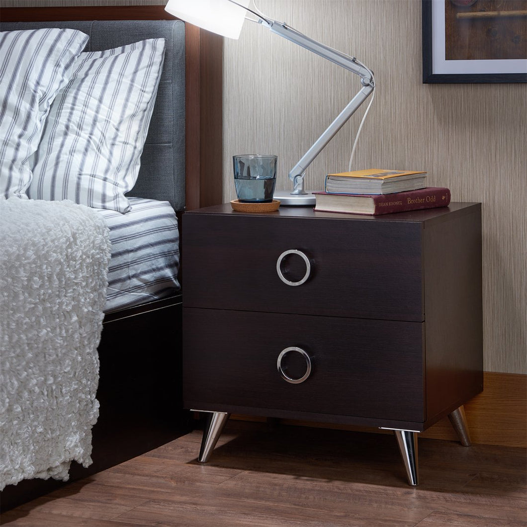 Acme Elms Espresso Chrome -Drawer Nightstand
