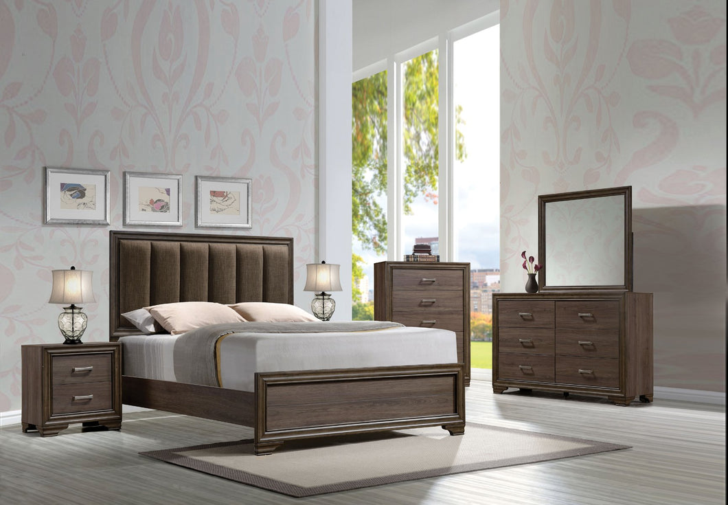 Acme Cyrille Walnut King Panel Bedroom Set