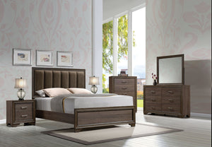 Acme Cyrille Walnut Finish Queen Panel Bedroom Set