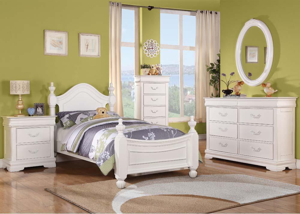 Acme Classique White Youth Twin Poster Bedroom Set