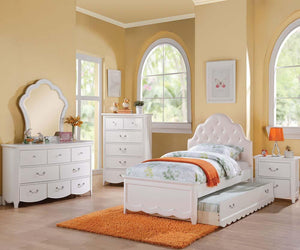 Acme Cecilie Pink White Kids Full Trundle Bedroom Set
