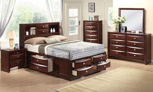 Acme 21596EK Ireland 4 Pieces Espresso Bookcase King Storage Bedroom Set