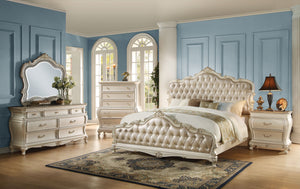 Acme Chantelle Rose Gold Pearl White Cal King Bedroom Set