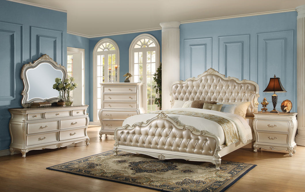 Acme Chantelle Rose Gold PU Pearl White Queen Bedroom Set