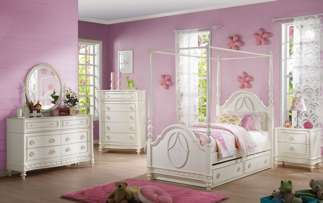 Acme Dorothy Ivory Full Canopy Trundle Bedroom Set