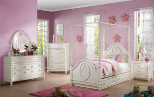 Acme Dorothy Ivory Twin Canopy Trundle Bedroom Set