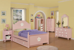 Acme Floresville Pink Flower Twin Trundle Bedroom Set