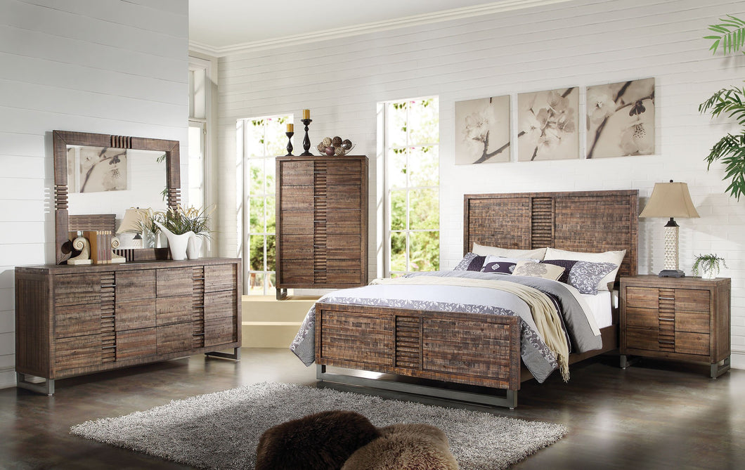 Acme Adria Recllaimed Oak Cal King Platform Bedroom Set