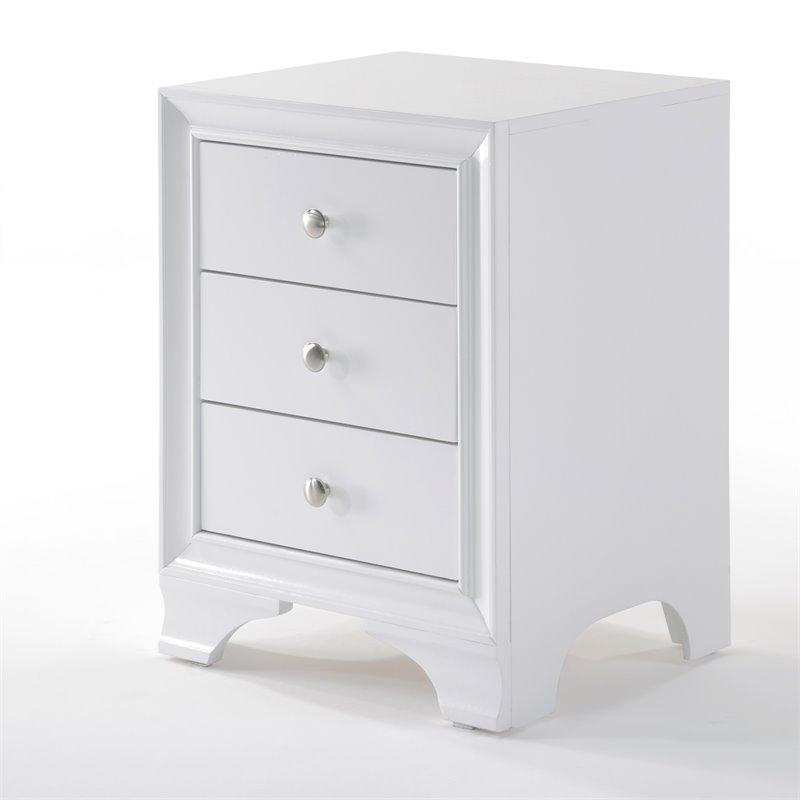 Acme 97500 Blaise 3 Drawer Nightstand In White