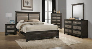 Acme 26280Q Anatole Walnut Finish 4 Piece Queen Bed Set